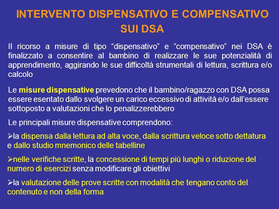 INTERVENTO DISPENSATIVO E COMPENSATIVO SUI DSA