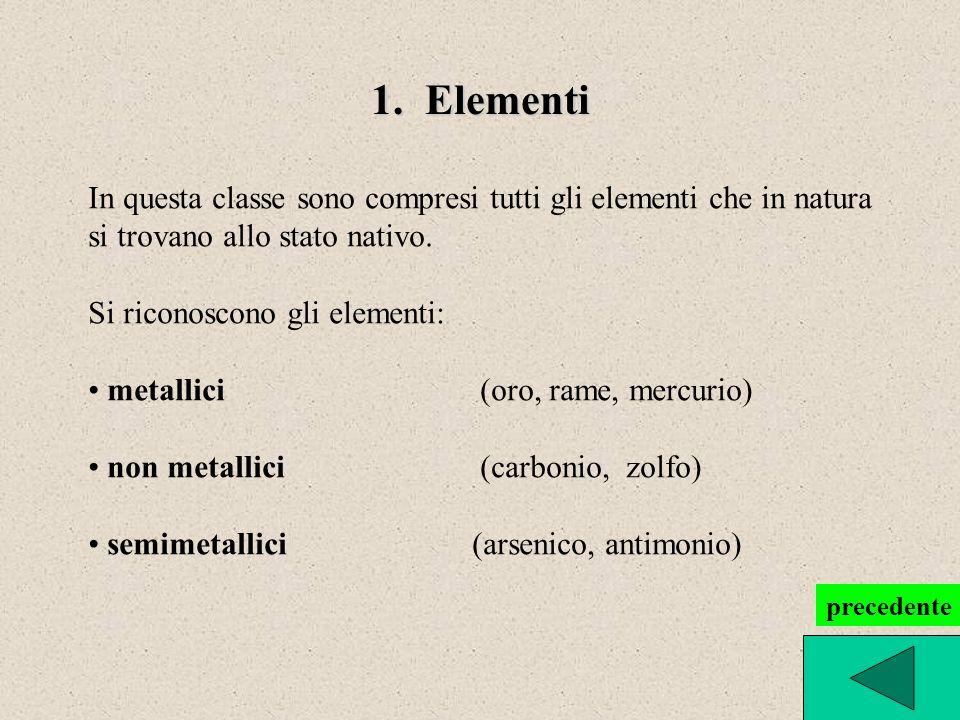 1. Elementi In questa classe sono compresi tutti gli elementi che in natura. si trovano allo stato nativo.
