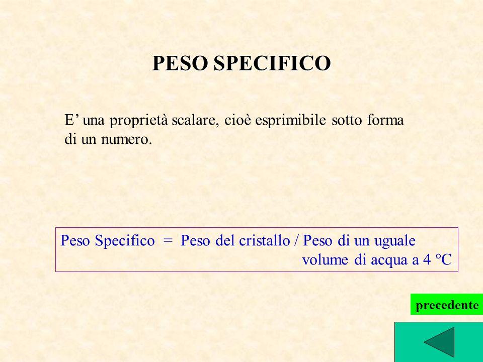 PESO SPECIFICO E' una proprietà scalare, cioè esprimibile sotto forma