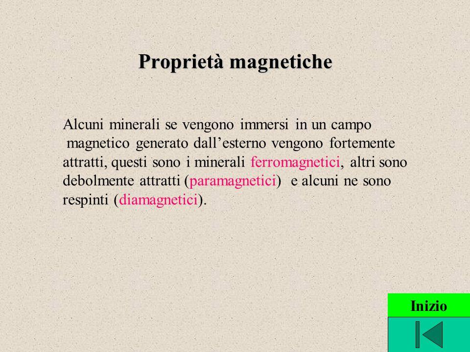 Proprietà magnetiche Alcuni minerali se vengono immersi in un campo