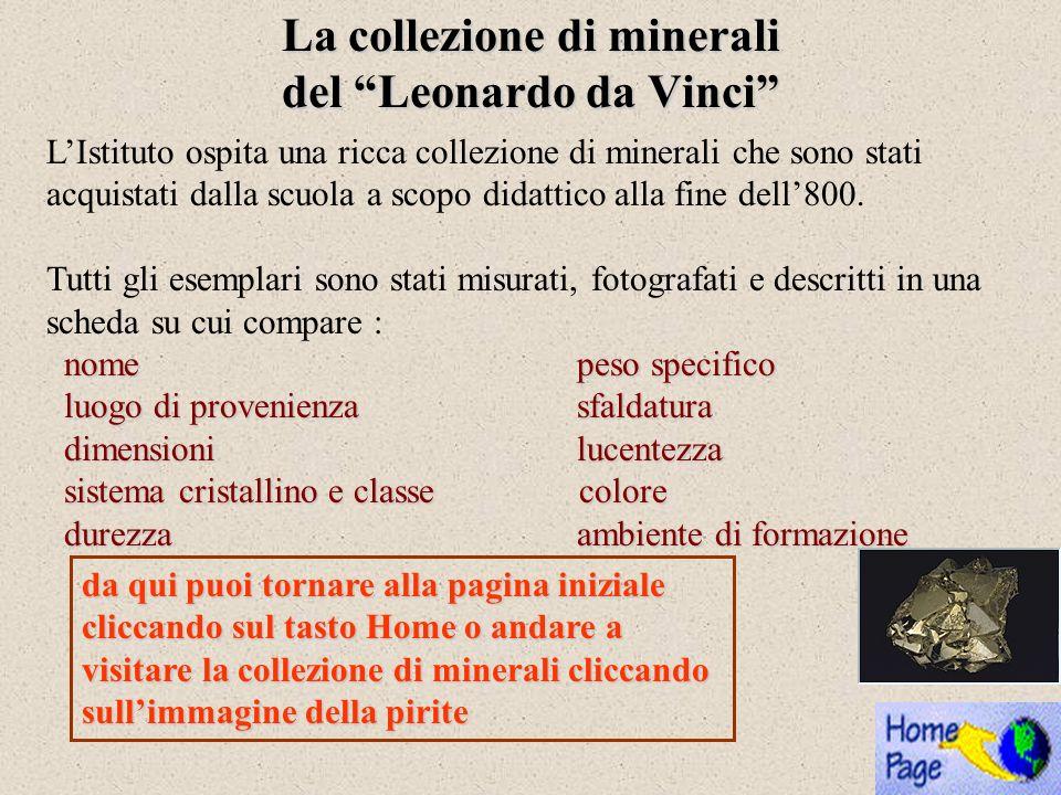 La collezione di minerali del Leonardo da Vinci