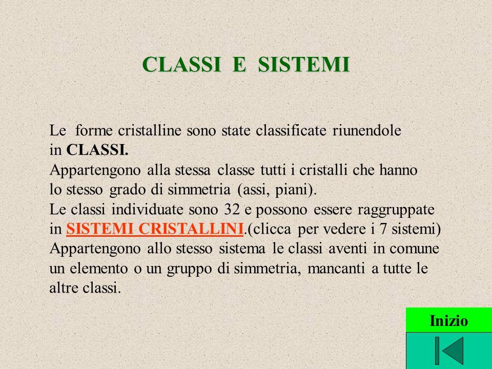 CLASSI E SISTEMI Le forme cristalline sono state classificate riunendole. in CLASSI. Appartengono alla stessa classe tutti i cristalli che hanno.