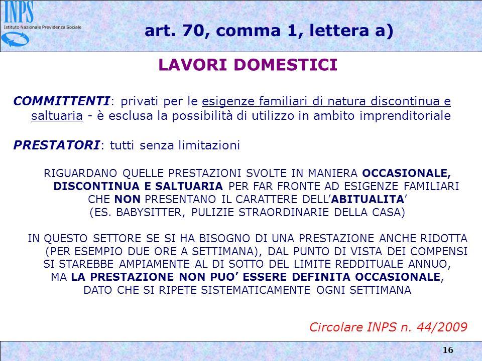 art. 70, comma 1, lettera a) LAVORI DOMESTICI