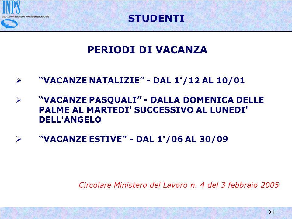 STUDENTI PERIODI DI VACANZA