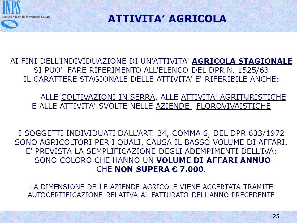 ATTIVITA' AGRICOLA AI FINI DELL INDIVIDUAZIONE DI UN ATTIVITA AGRICOLA STAGIONALE SI PUO FARE RIFERIMENTO ALL ELENCO DEL DPR N. 1525/63.