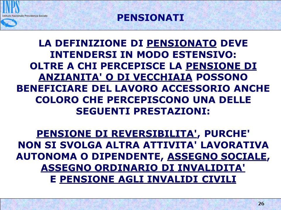 LA DEFINIZIONE DI PENSIONATO DEVE INTENDERSI IN MODO ESTENSIVO: