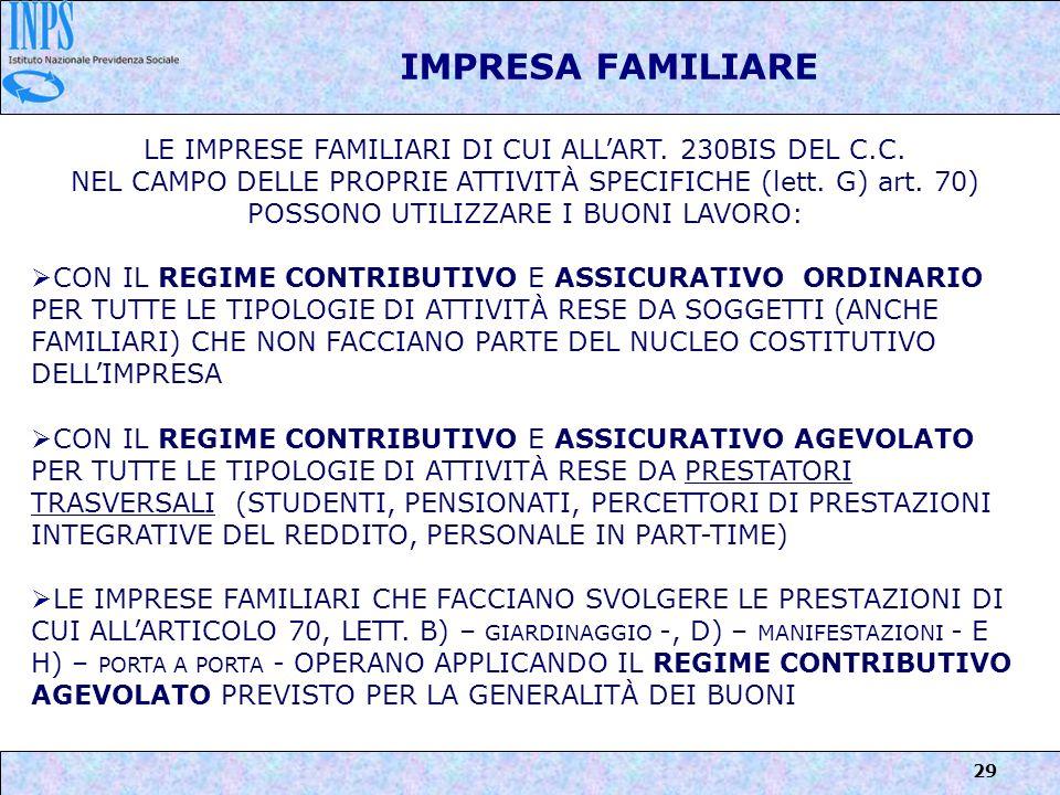 IMPRESA FAMILIARE LE IMPRESE FAMILIARI DI CUI ALL'ART. 230BIS DEL C.C.