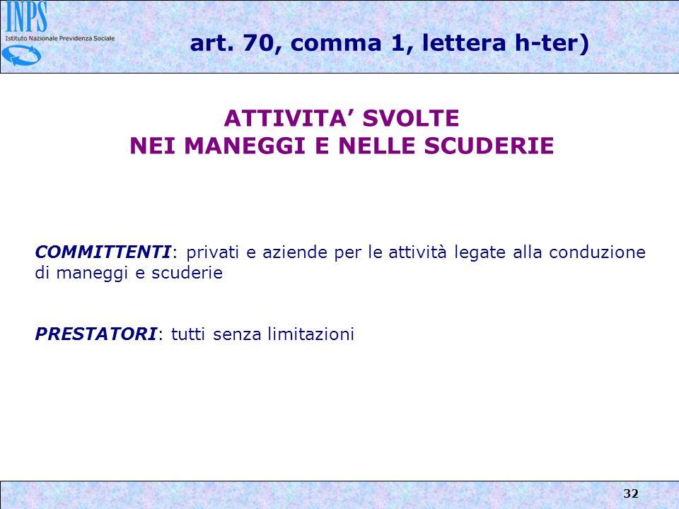 art. 70, comma 1, lettera h-ter) NEI MANEGGI E NELLE SCUDERIE