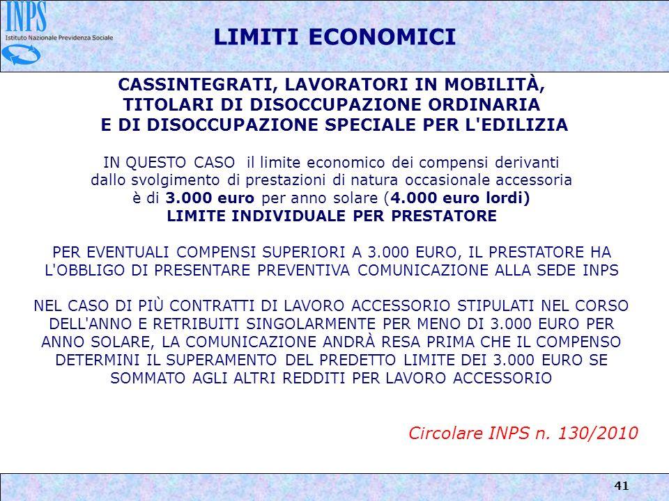 LIMITI ECONOMICI CASSINTEGRATI, LAVORATORI IN MOBILITÀ,