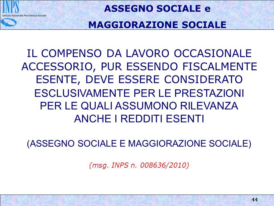 MAGGIORAZIONE SOCIALE