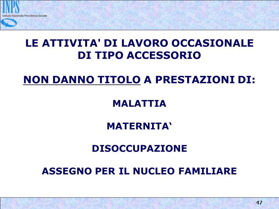 LE ATTIVITA DI LAVORO OCCASIONALE DI TIPO ACCESSORIO