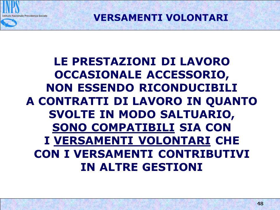 LE PRESTAZIONI DI LAVORO OCCASIONALE ACCESSORIO,