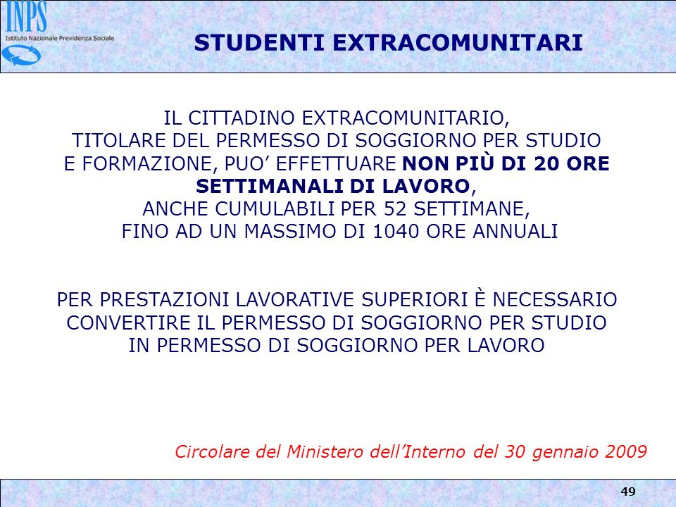 STUDENTI EXTRACOMUNITARI
