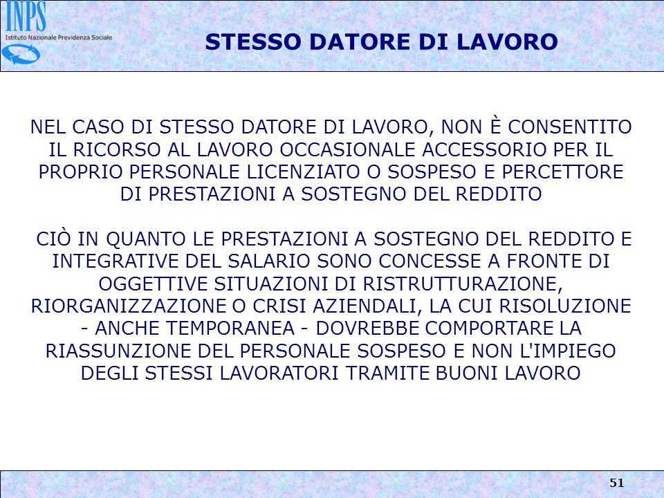 STESSO DATORE DI LAVORO