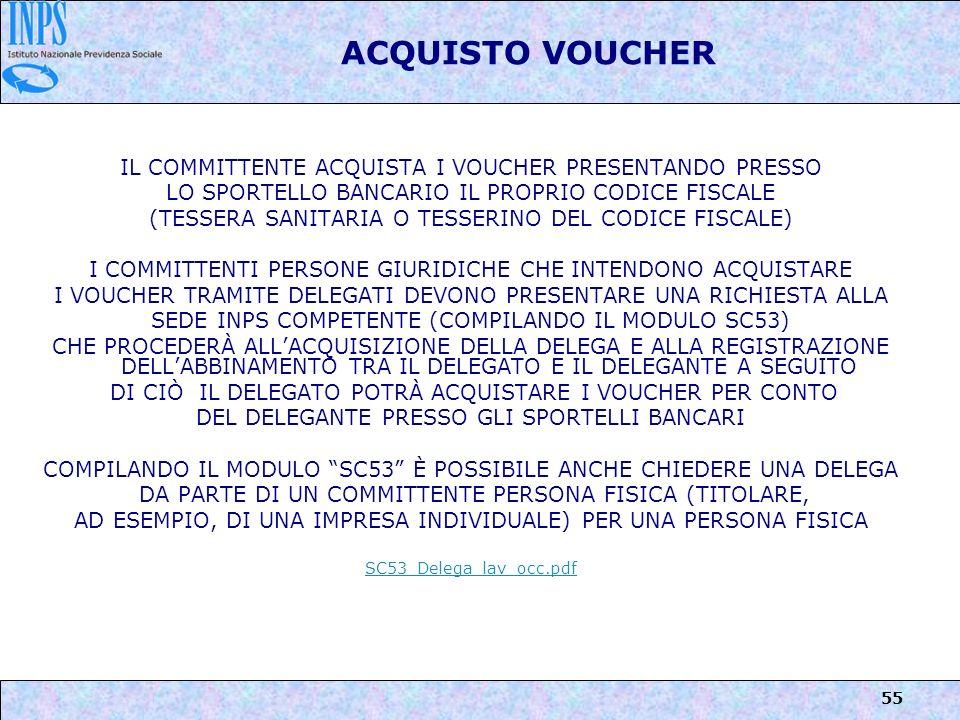 ACQUISTO VOUCHER IL COMMITTENTE ACQUISTA I VOUCHER PRESENTANDO PRESSO
