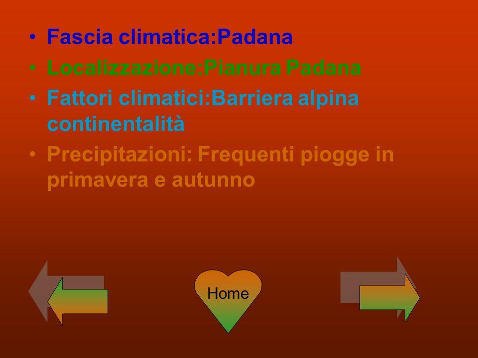 Fascia climatica:Padana Localizzazione:Pianura Padana