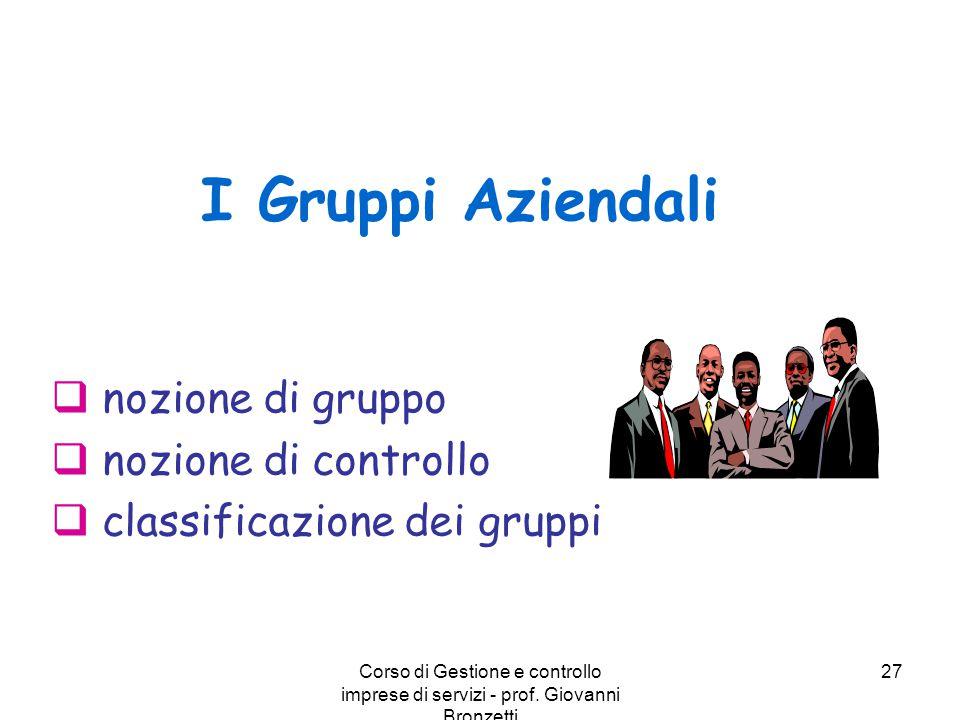 I Gruppi Aziendali nozione di gruppo nozione di controllo