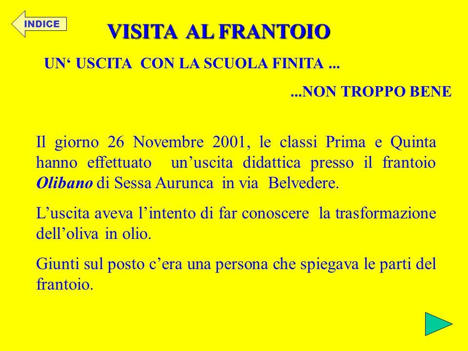 INDICE VISITA AL FRANTOIO. UN' USCITA CON LA SCUOLA FINITA ... ...NON TROPPO BENE.