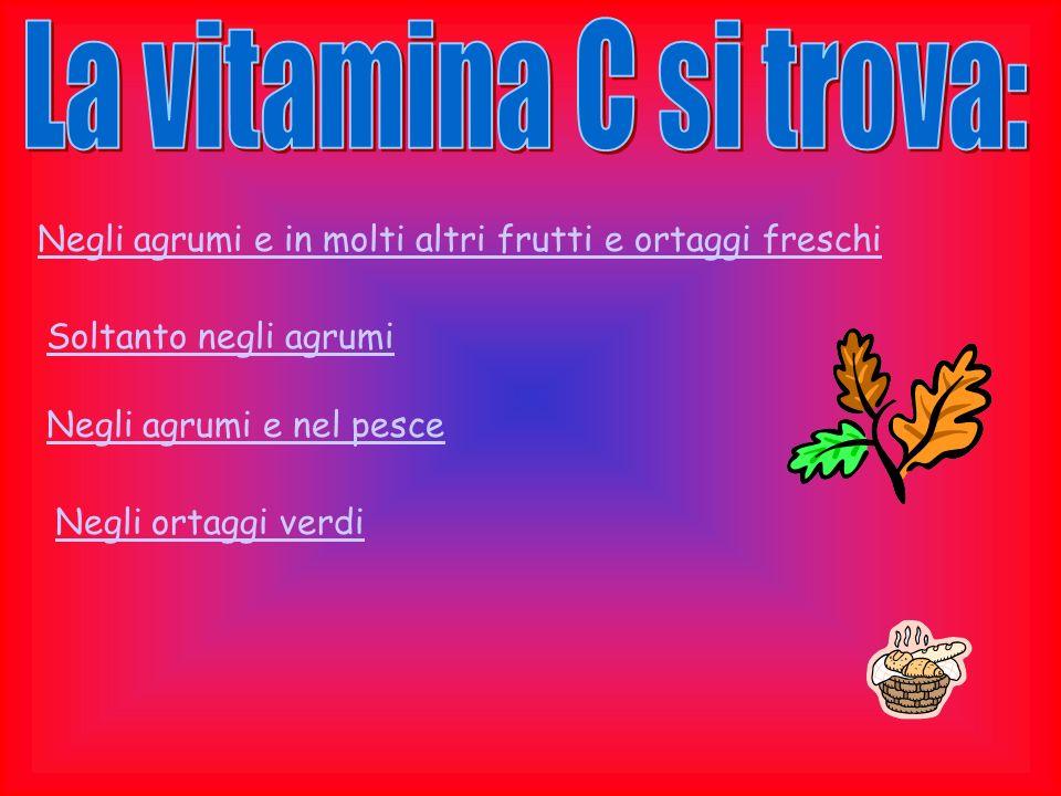 La vitamina C si trova: Negli agrumi e in molti altri frutti e ortaggi freschi. Soltanto negli agrumi.