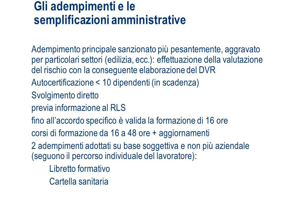 Gli adempimenti e le semplificazioni amministrative
