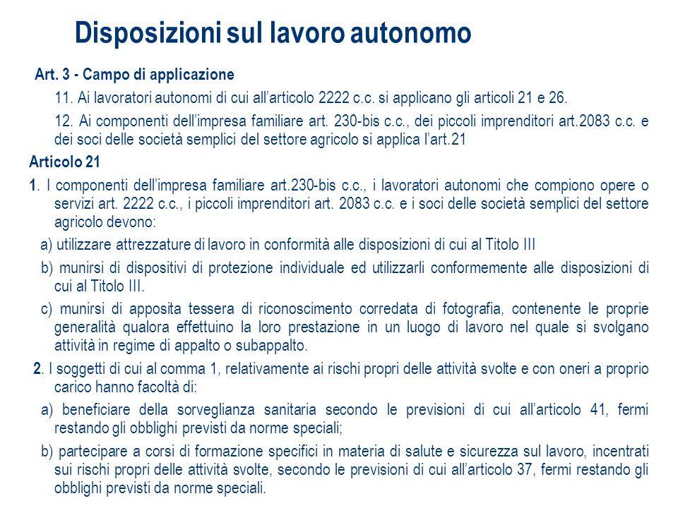 Disposizioni sul lavoro autonomo