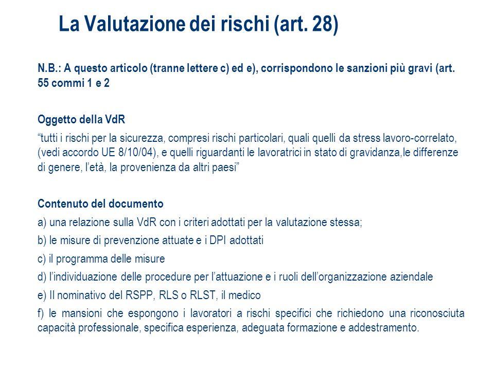 La Valutazione dei rischi (art. 28)