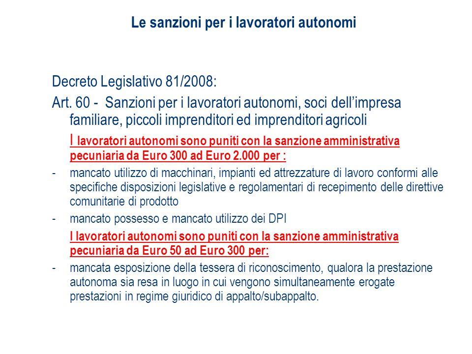 Le sanzioni per i lavoratori autonomi