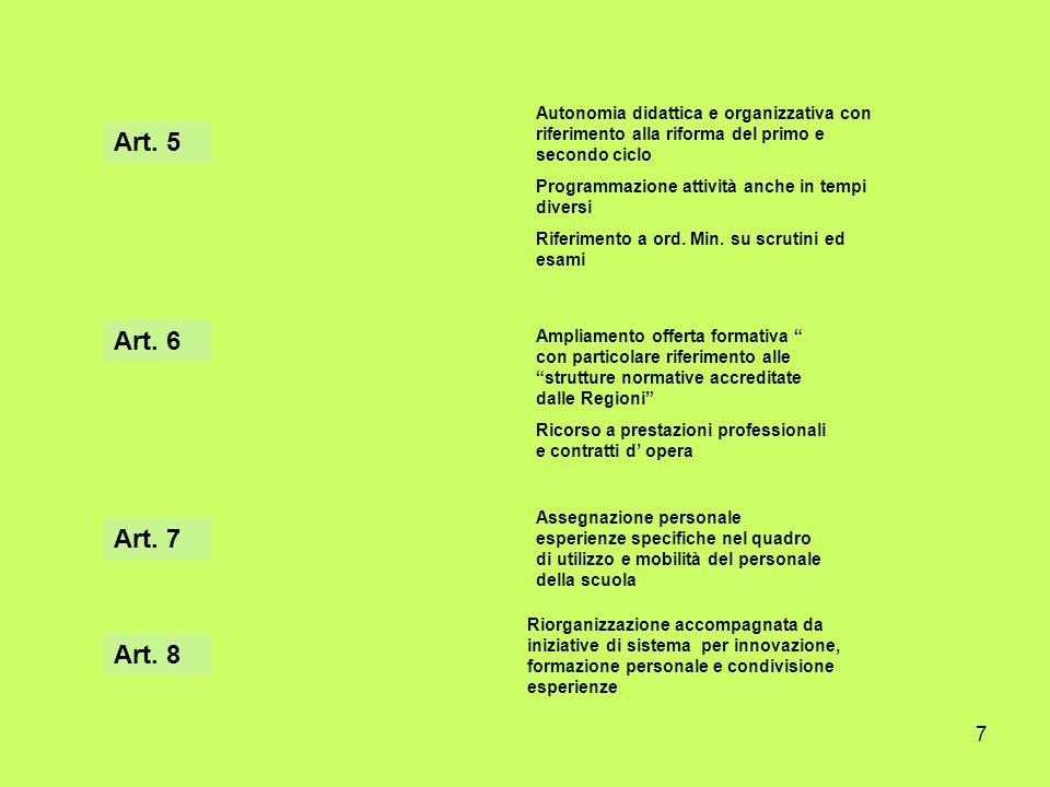 Autonomia didattica e organizzativa con riferimento alla riforma del primo e secondo ciclo