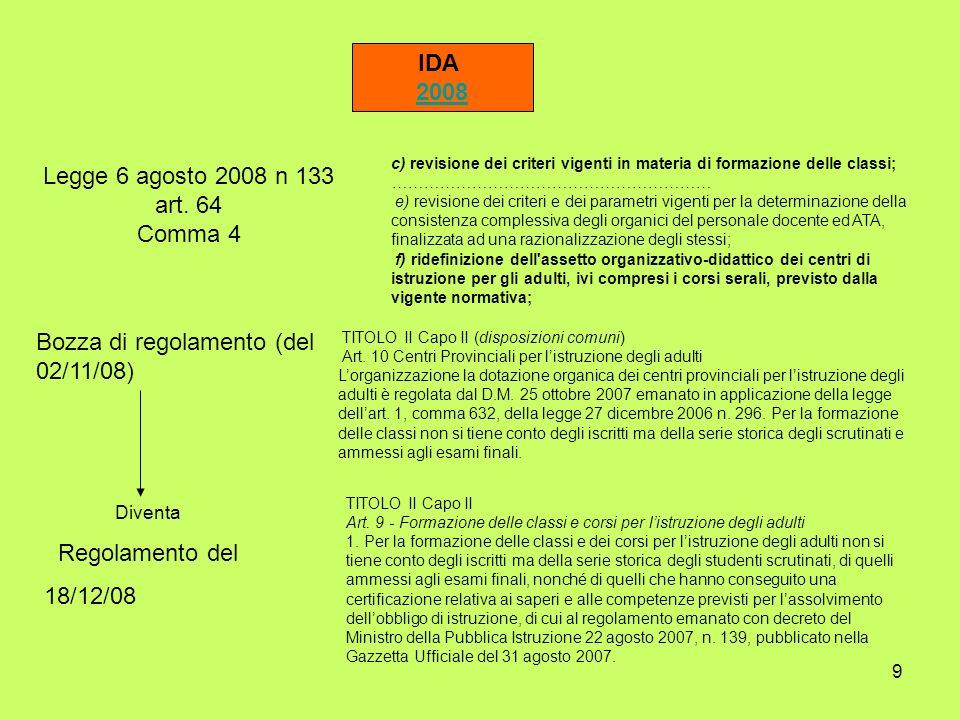 Bozza di regolamento (del 02/11/08)