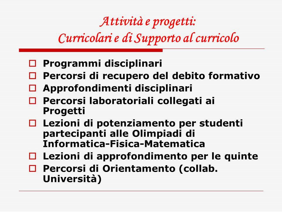 Attività e progetti: Curricolari e di Supporto al curricolo