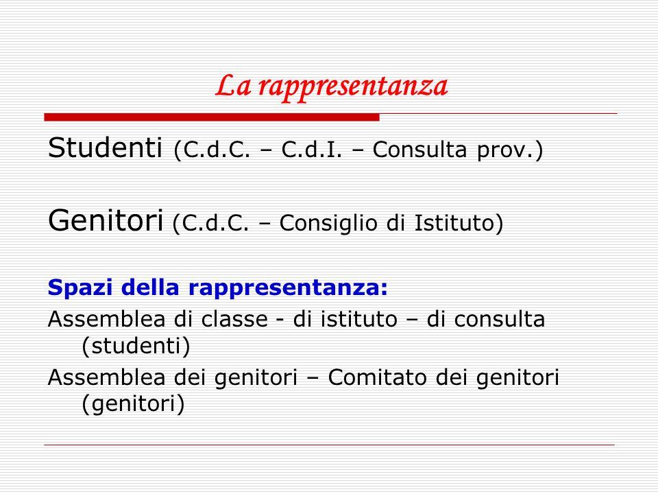 La rappresentanza Genitori (C.d.C. – Consiglio di Istituto)