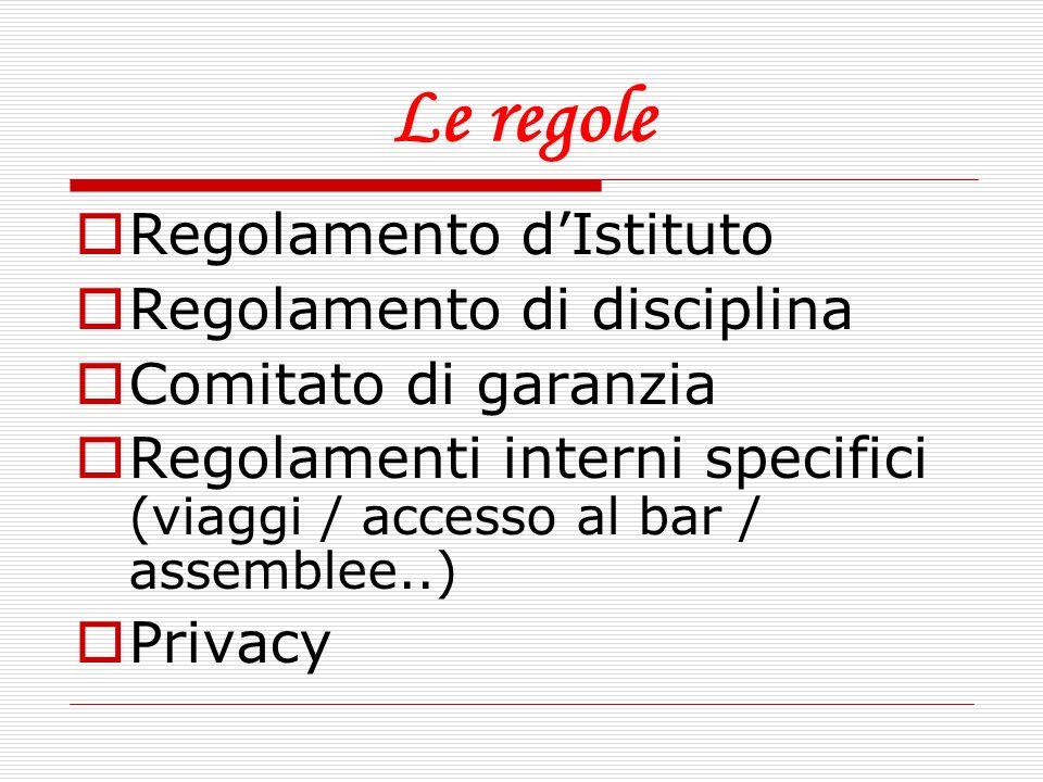 Le regole Regolamento d'Istituto Regolamento di disciplina