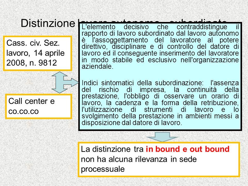 Distinzione lavoro autonomo - subordinato