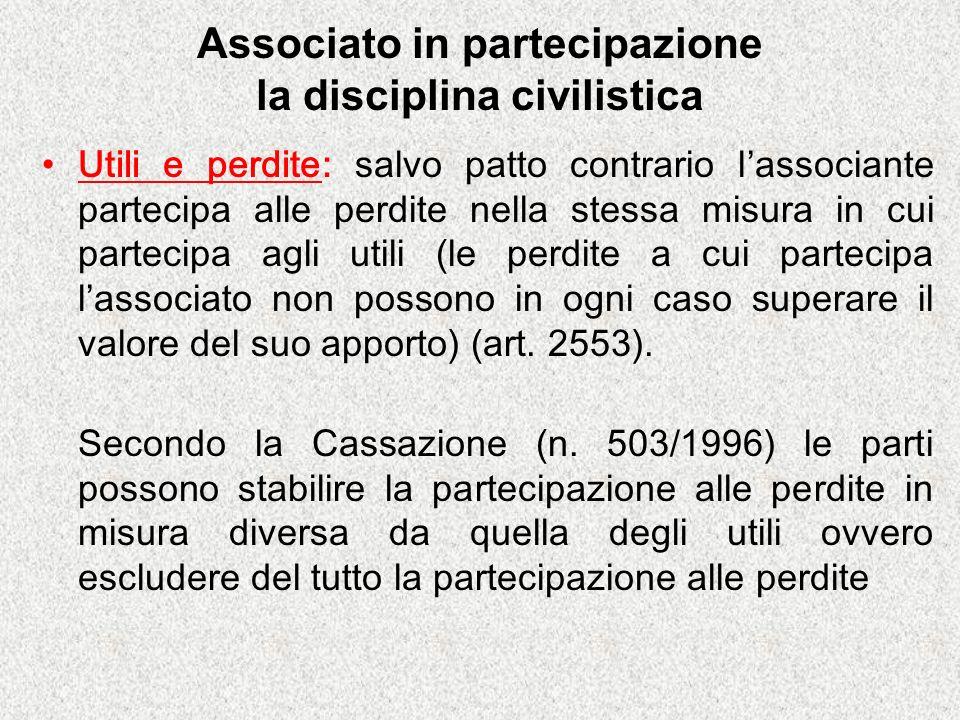Associato in partecipazione la disciplina civilistica