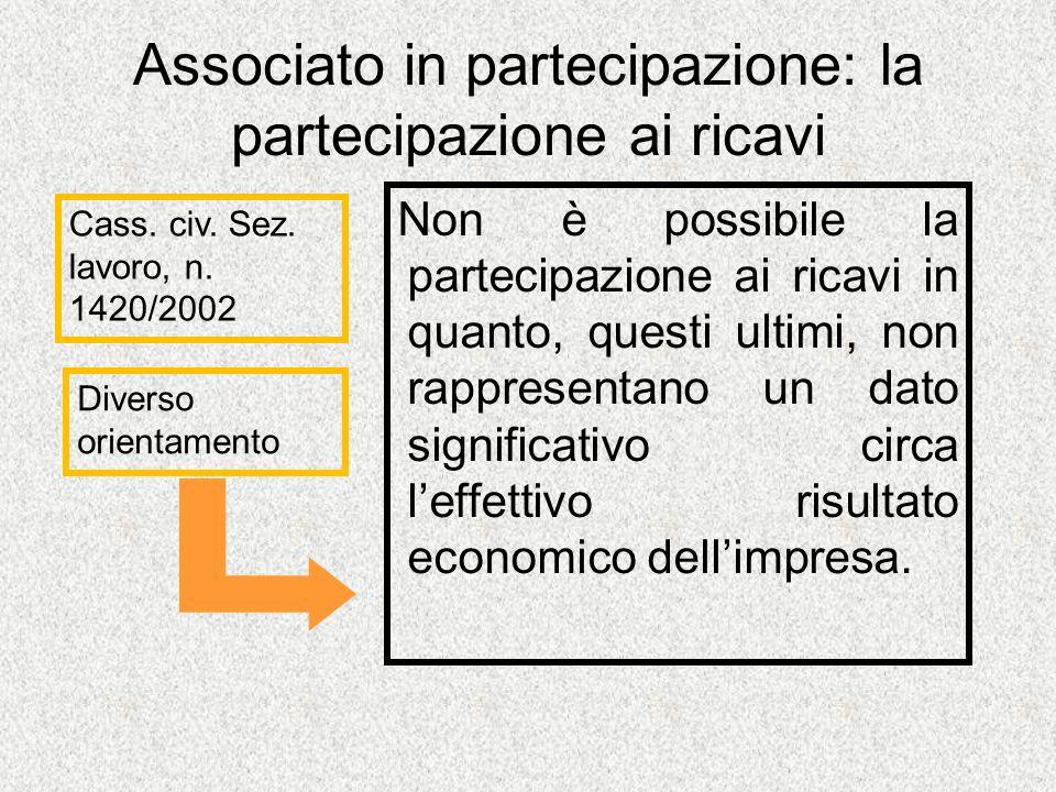 Associato in partecipazione: la partecipazione ai ricavi