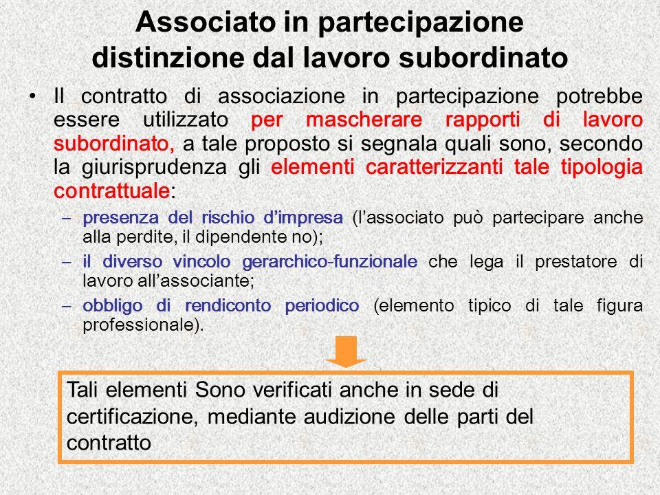 Associato in partecipazione distinzione dal lavoro subordinato