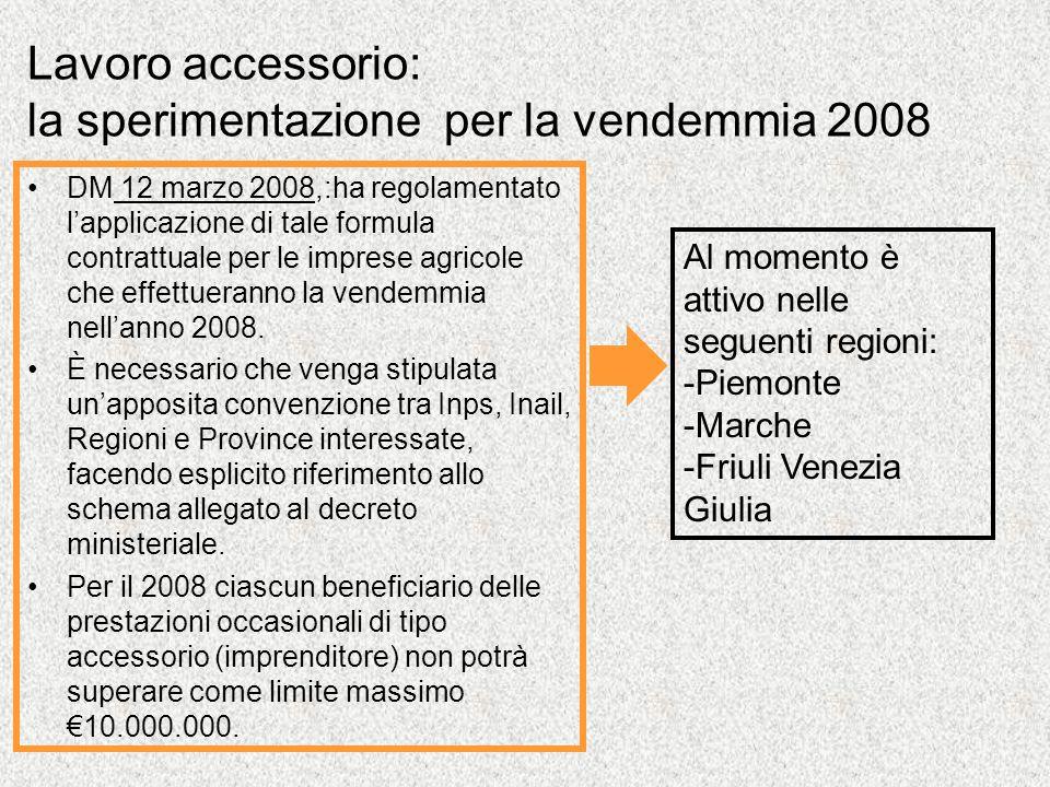 Lavoro accessorio: la sperimentazione per la vendemmia 2008