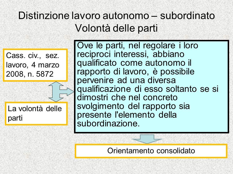 Distinzione lavoro autonomo – subordinato Volontà delle parti