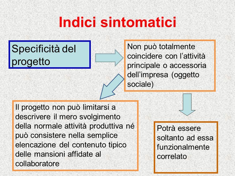 Indici sintomatici Specificità del progetto