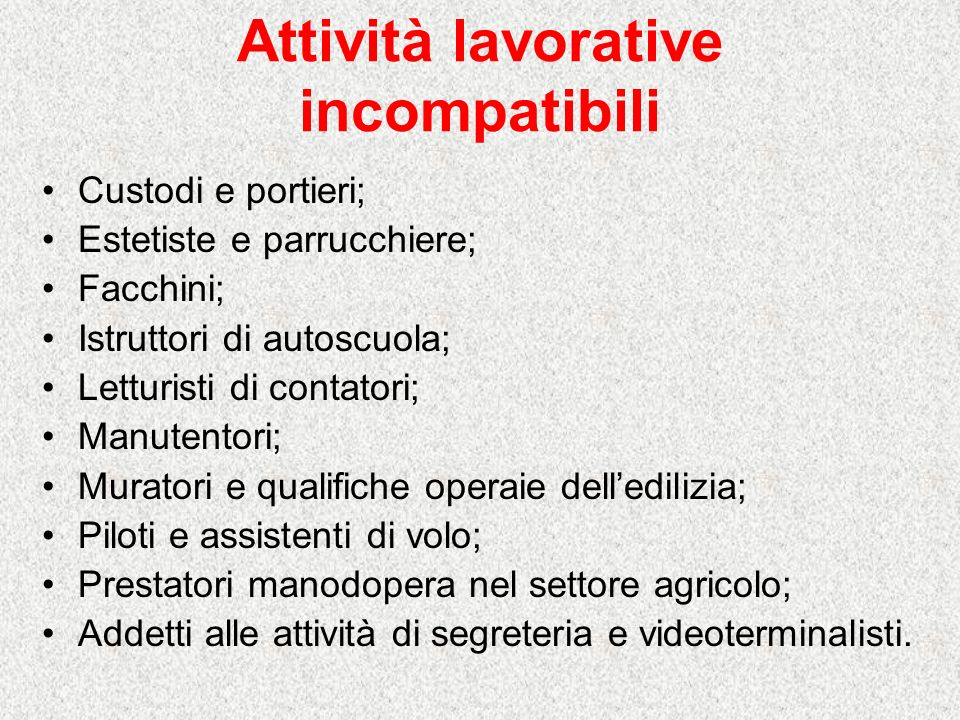 Attività lavorative incompatibili