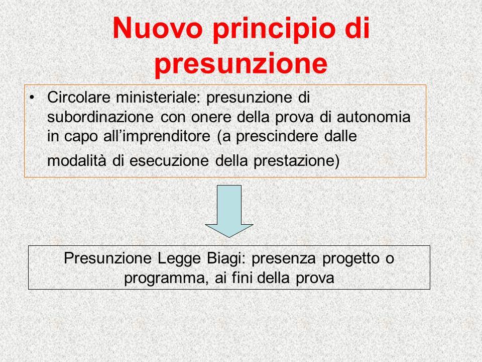Nuovo principio di presunzione
