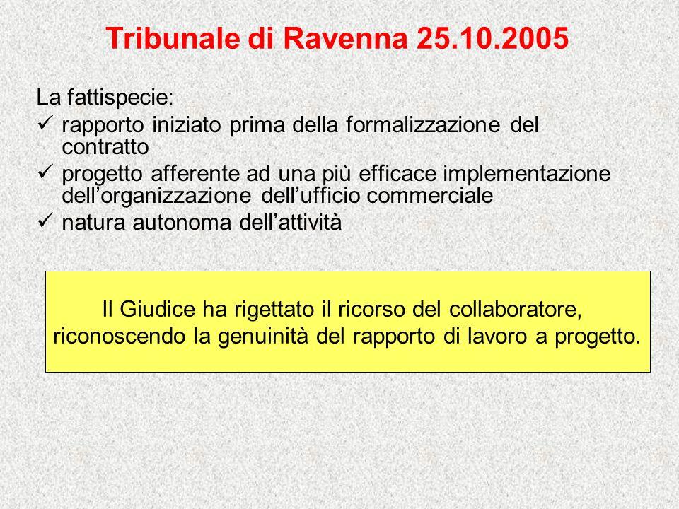 Tribunale di Ravenna 25.10.2005 La fattispecie: