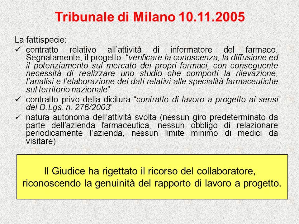 Tribunale di Milano 10.11.2005 La fattispecie: