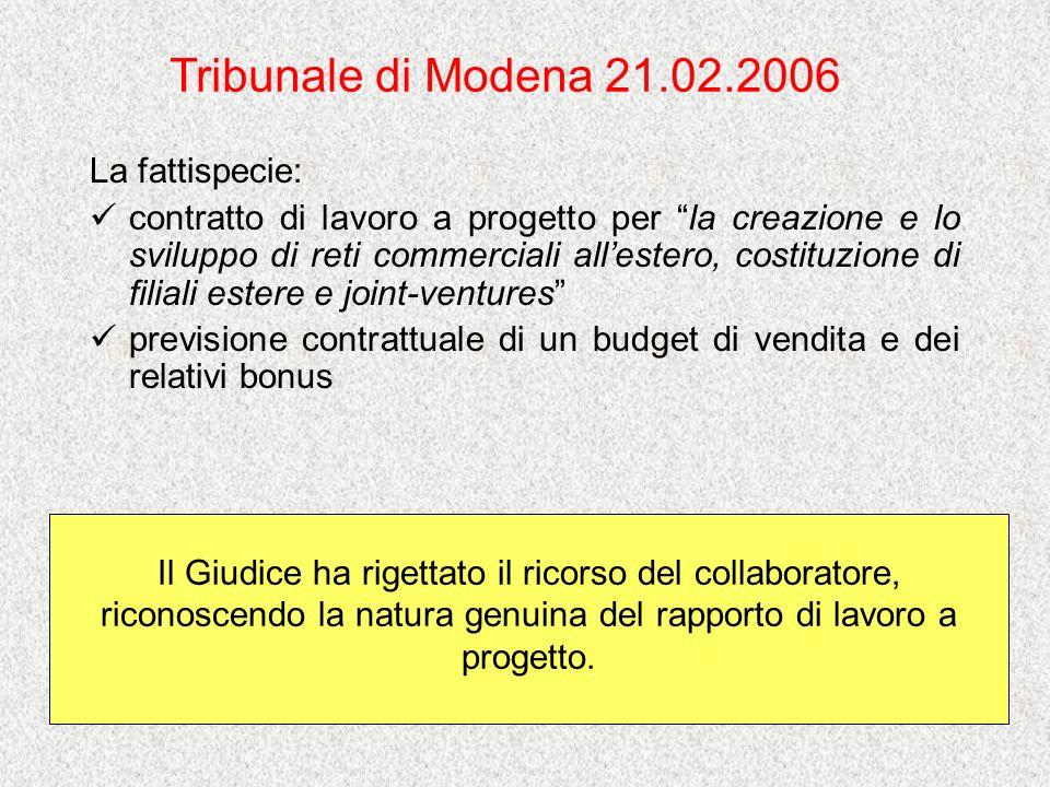 Tribunale di Modena 21.02.2006 La fattispecie: