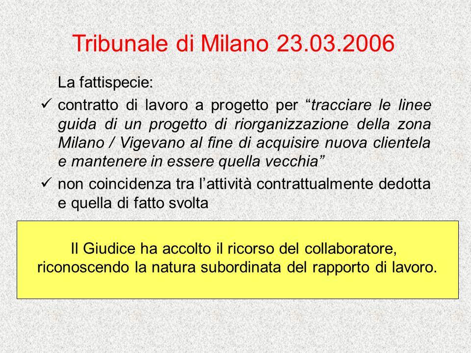 Tribunale di Milano 23.03.2006 La fattispecie: