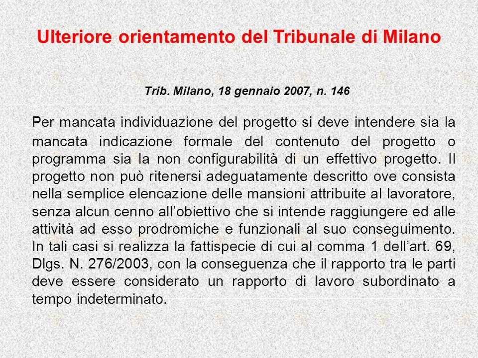 Ulteriore orientamento del Tribunale di Milano