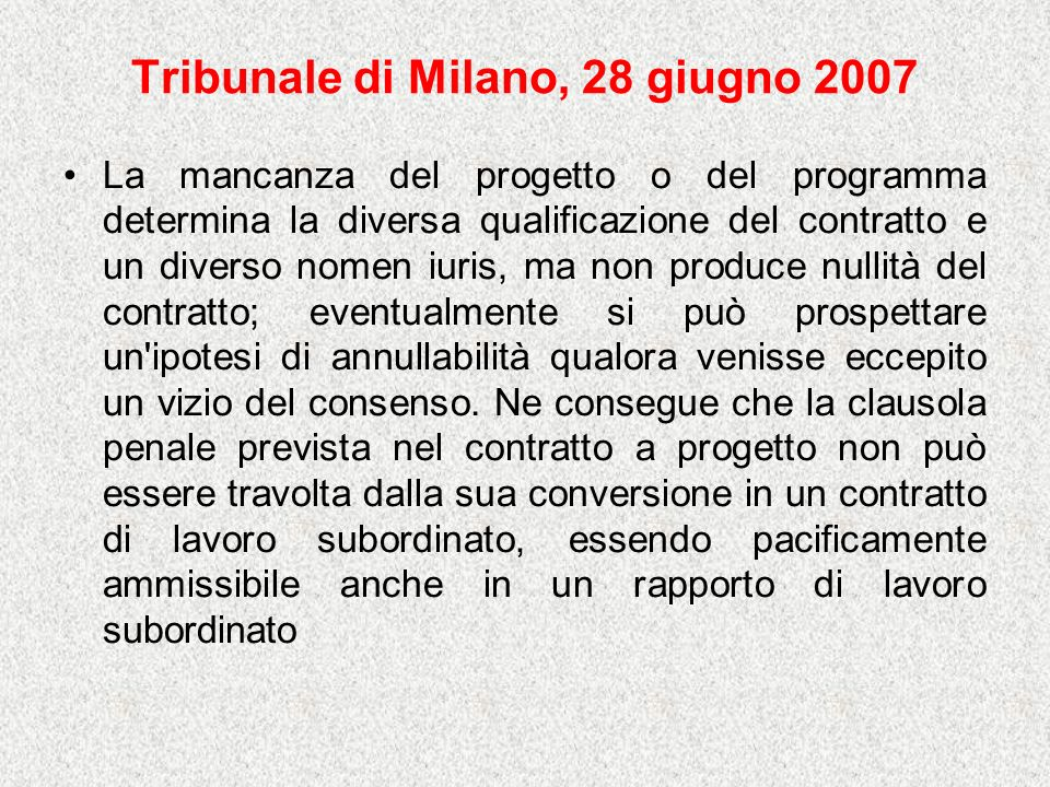 Tribunale di Milano, 28 giugno 2007