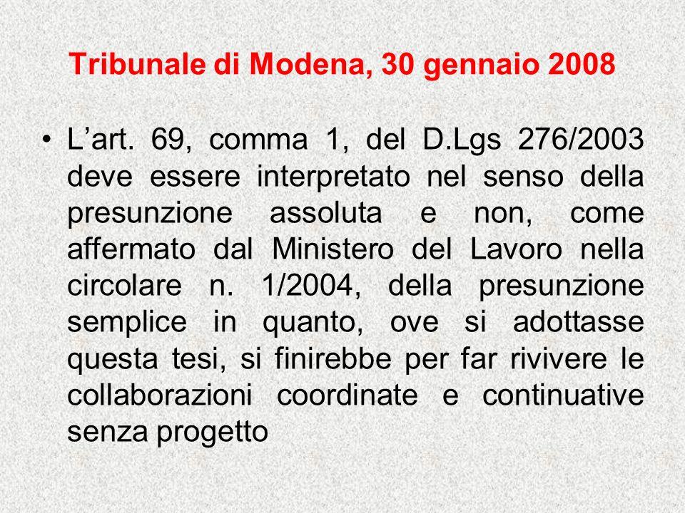 Tribunale di Modena, 30 gennaio 2008