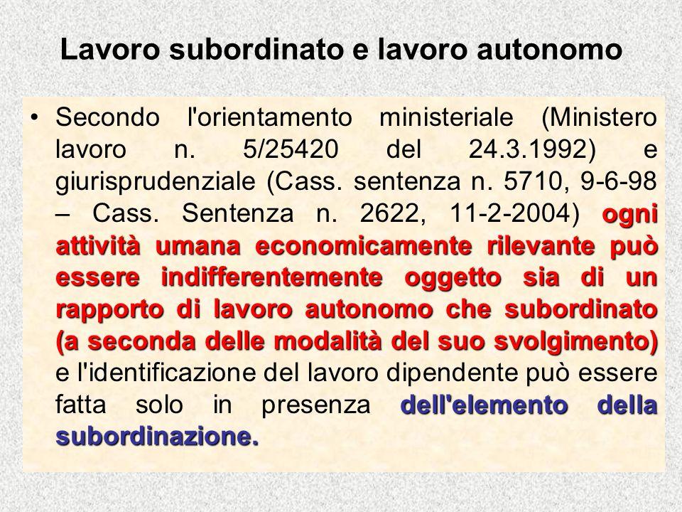 Lavoro subordinato e lavoro autonomo