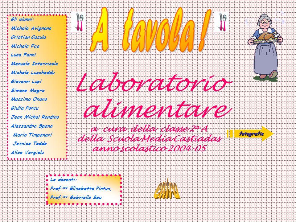A tavola !Gli alunni: Michele Avignone. Cristian Casula. Michela Faa. Luca Fanni. Manuela Internicola.